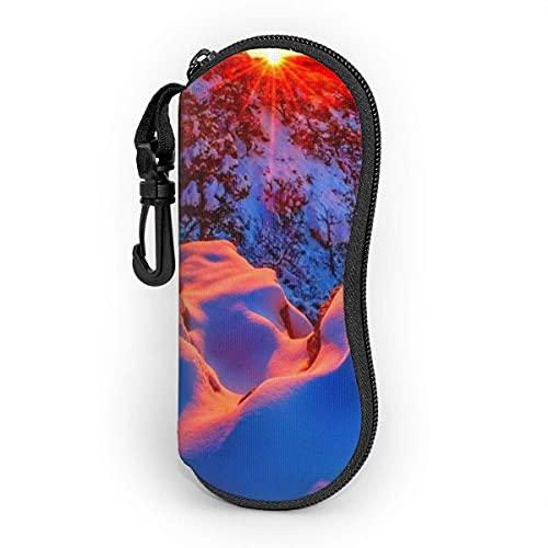 Funda protectora de neopreno con cremallera suave para gafas de sol, bolsa con clip para hombres y mujeres Leopard pattern