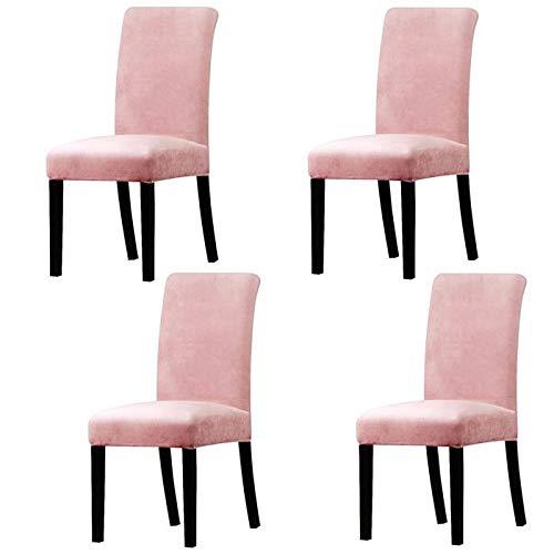 JS Ett bröllop bankett sammet avtagbar stretch överdrag middag Henriksdal stolskydd - 4-pack (rosa)