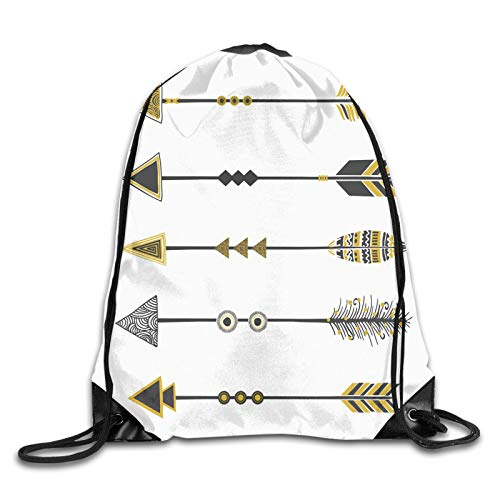 Drawstring Gym Bag Backpack,Old Fashioned Arrow Figures Tribal Vintage Native Primitive Country Ethnic Elements,Rucksack for School Sports Travel Women Children Birthday Present