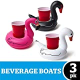 BigMouth Inc. Inflatable Bird Pool Cupholder Floats, 3-pack includes Pink Flamingo and Black and White Swans , Multi-Colour