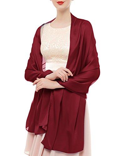 bridesmay Damen Schal Frühling Sommer Stola für Abendkleid Hochzeit Satin Halstuch in 19 Farben 180 * 90cm Rot Dark Red