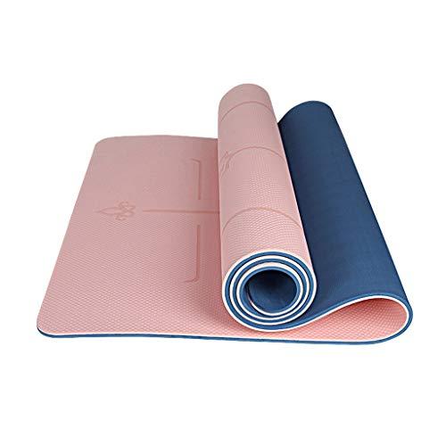 RXL Ejercicio Yoga Mat Mujer Principiante Espesado 80cm Ensanchamiento Alargado Estera de la Aptitud Yoga Mat Mat Inicio Antideslizante Formación (Color : Pink b, Size : 10mm)