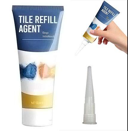 Agente restaurador de lechada de baldosas, colorante y sellador de lechada de baldosas anti-moho impermeable, rotulador de lechada, marcador pintura para baldosas blancas (Claro)