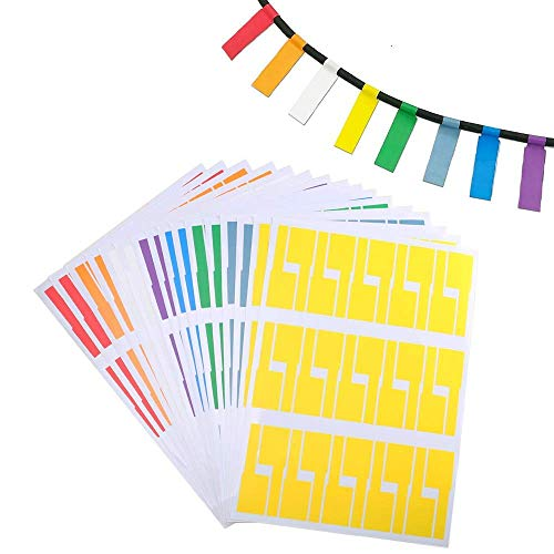 600pcs Assorted Color Self-Adhesive Cable Labels Waterproof Tear Resistant Cord Label Stickers Best for Office School Supplies Handwriting Printer (20)