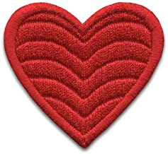 Iron On Patches - Red Heart Patch Iron On 3 pcs Patch Embroidered Applique Heart (2,59x2,75inch) S-31