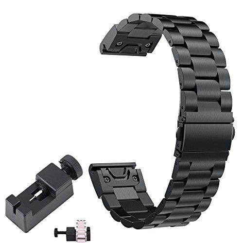 TenCloud Watchband for Fenix 5 Band Metal Easy Fit 22mm Business Stainless Steel Bands Compatible with Garmin Fenix 5 Smartwatch(Black Metal)