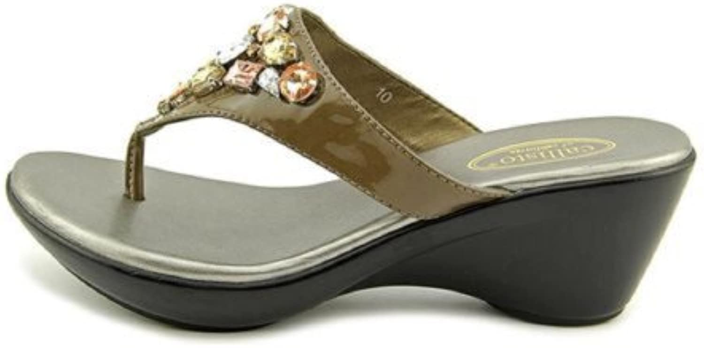 Callisto Womens Shimmer Split Toe Casual Slide Sandals, Putty Pat, Size 7.0
