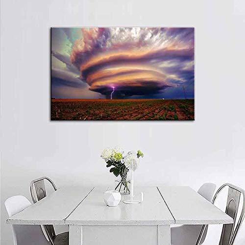 sanzangtang Tornado met canvas moderne schilderij foto natuur landschap kleurrijke boerderij kunst woonkamer decoratie frameless schilderij