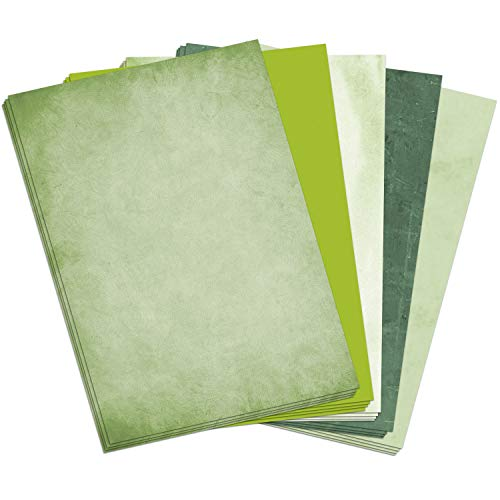50 Blatt Briefpapier (A4)   Mix Grün (5 x 10 Blatt)   Motivpapier   edles Design Papier   beidseitig bedruckt   Bastelpapier   90 g/m²