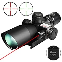 Magnification: 2.5-10X with 40mm objective; Field of View:100 yards of 32.5' @ 2.5x - 8.9' @10x; Laser: 2mW, Class IIIA, reaching 100 yards Clearer Image: multi-coated green lens boast much higher light transmittance compared with blue lens Illuminat...