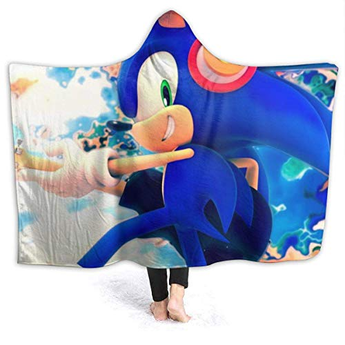 CHICLI Spring Hooded Blankets for Kids Baby, Best of Classic Sonic The Hedgehog Music Cool Poster Wearable Blankets for Christmas, School, Airplane, All Seasons Warm Cloak Shawl Wrap
