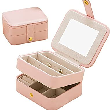 Jewelry Organizer Box-Nasion.V Travel Portable Jewelry Storage Case Accessories Holder Pouch Bulit-in Mirror with Environmental Faux Leather for Earring,Lipstick,Necklace,Bracelet,Rings Pink
