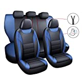 chifeng Juego de fundas para asientos de coche, de piel sintética, 5 asientos, protección para Renault Captur Clio Kadjar Laguna (azul)