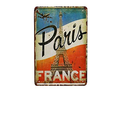 Placa de metal para pared con diseño de París Francia