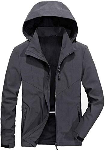 Men Jacket Softshell Light Jacket Windproof Zipper Military Coat Jacket Outerwear,Dark Grey,Large