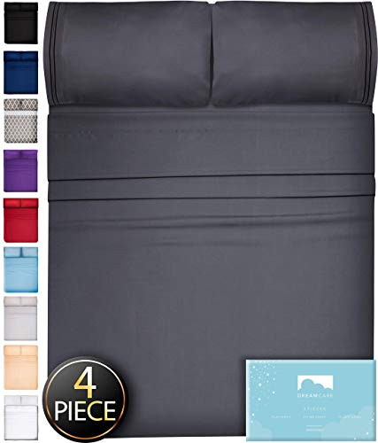 DreamCare Deep Pocket Sheets Microfiber Sheets Bed Sheets Set 4 Piece Bedding Sets King Size, Dark Gray