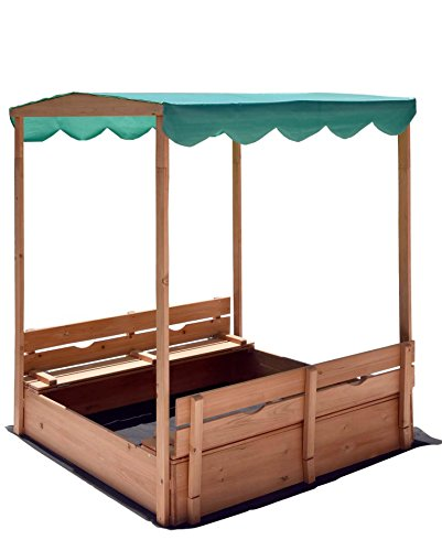 Naomi Home Kids Canopy Cedar Sandbox with 2 Convertible Benches