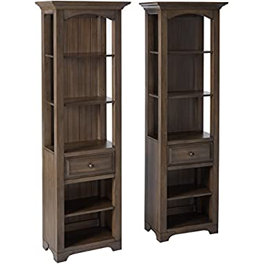Kings Brand 2 Piece Austin Distressed Gray Wood Home & Office Bookcase Display Unit