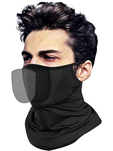 Face Coverings for Men Women with Filters - Bearthable Cooling Neck Gaiter with Ear Loops, Reusable Cloth Scarf Workout Face Mask for UV Sun Dust Protection Black