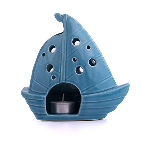 Decorazione marittima in ceramica per il bagno, alta 16 cm, come porta tealight e decorazione da bagno in miniatura in primavera e a Pasqua, come barca a vela in blu-turchese