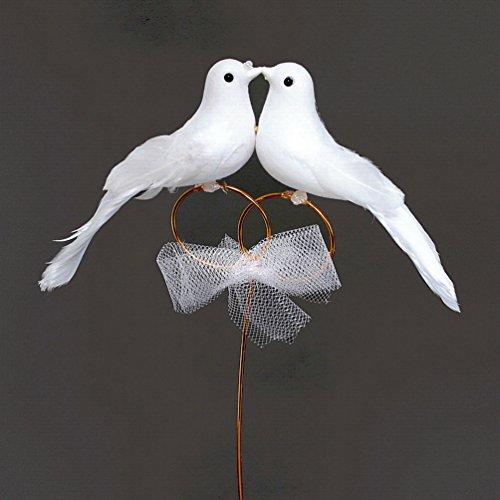 Taubenpaar auf Ringen am Draht, 18cm x 11cm, Hochzeit/TOP Preis !!!