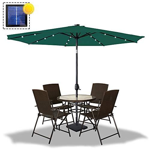 Froadp Knickbarer Achteckig Sonnenschirm Ø300cm Alu-Marktschirm Kippbar Gartenschirm Ø38mm Regenschirm Griff mit UV Schutz 40+ Polyestertuch für Terrasse Garten Balkon(Grün mit LED)