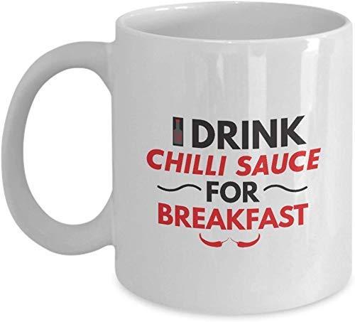 Fanáticos de la Salsa de Chile: Bebo Salsa de Chile para el Desayuno Salsa de Chile, Salsa Picante, Picante, Chiles, Taza Blanca, Taza de café de cerámica