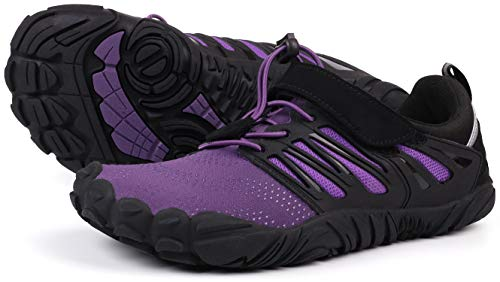 JOOMRA Barefoot Trail Running Shoes Women Purple Minimalist Barefoot Runner Athletic Hiking Trekking Gym Wide Breathable Toes Workout Sneakers Size 7