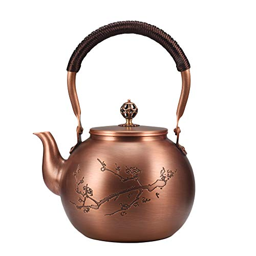 Kung Fu Tee Japanische Teezeremonie Tee-Ware Teekessel reines Kupfer Teekanne handgefertigt Kupfertopf kochendes Wasser Kupfertopf 1,3 l (Typ 7)