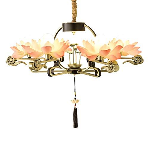 CJshop Lámpara Colgante Estilo Chino de la lámpara Comedor Sala de Estar de la lámpara del Estilo Chino Lotus Lámpara Lámpara Lámpara de Techo Colgante