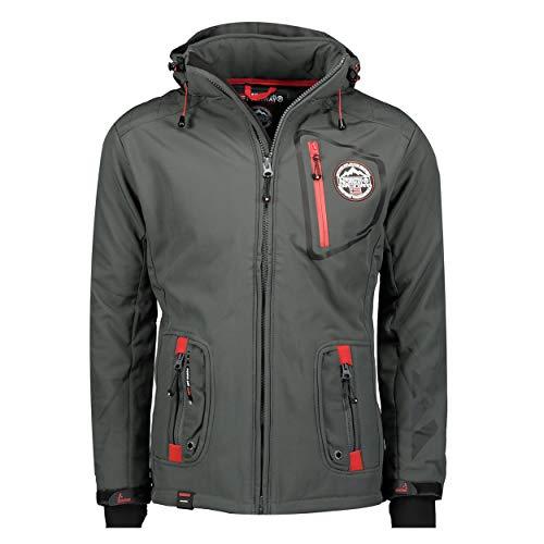 Geographical Norway TACEBOOK - Veste Softshell Homme Impermeable - Manteau à Capuche Outdoor - Coupe Vent Tactique Resistant Hiver - Blouson Activites en Exterieur () (M, Gris Foncé)