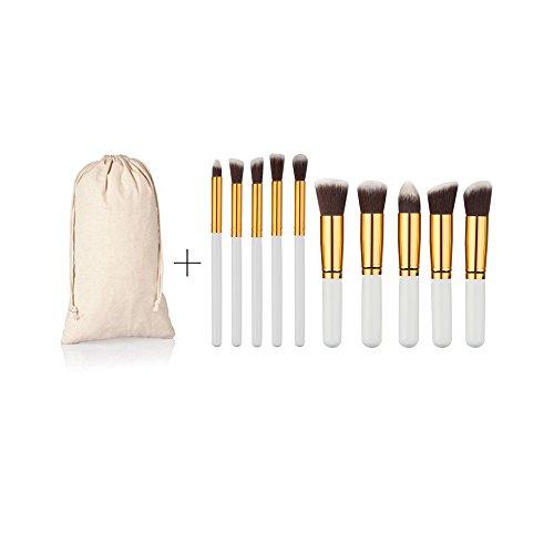 Injoyo Ensemble De 10 Pinceaux De Maquillage Nez Pour Les Yeux Face Blender Blender Concealer Foundation Brush - Blanc Or
