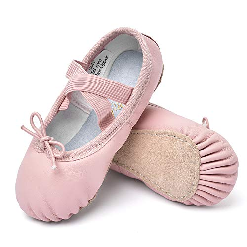 STELLE Girls Premium Leather Ballet Shoes Slippers for Kids Toddler (10MT, Pink)