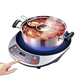 KIKBLW Multifunction Electric Induction Cooker, 220V 120-2100W Smart Cooktop Hot Pot Heating Plate Black Crystal Panel Non-Slip Mat Anti-Clogging