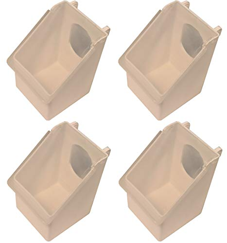 Rite Farm Products 4 Pack of 1 Hole Plastic Quail Pigeon Dove Bird Outside of CAGE Mount FEEDERS
