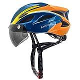 EASTINEAR Casco Bicicleta para Adultos con Gafas Hombre Mujer Casco Bicicleta con Luz de Seguridad LED Casco Ciclismo de Montaña y Carretera Tamaño Ajustable M/L 57-61cm (Naranja Azul)