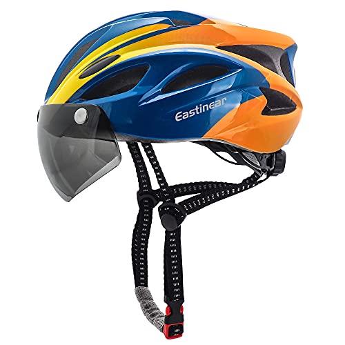 EASTINEAR Casco Bicicleta para Adultos con Gafas Hombre Mujer Casco Bicicleta con Luz de Seguridad LED