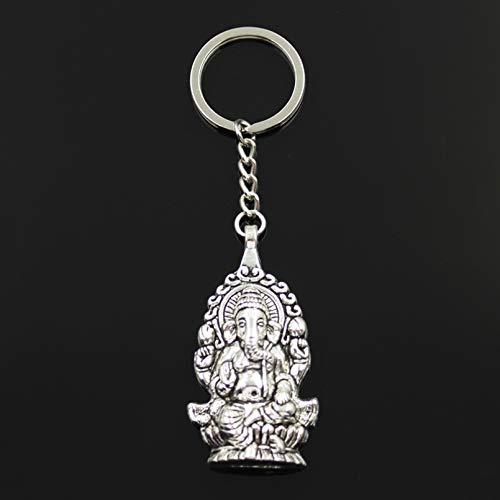 FGHHT Llavero de Moda 62x32mm Ganesha Buda Elefante Colgantes DIY HombresCoche Llavero Anillo Titular Recuerdo para Regalo