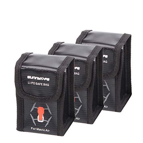 O'woda Incombustible A prueba de explosiones Bolso seguro de la batería de Lipo Manga Lipo Bolsa protectora de la batería Saco de carga Bolsa de protección para DJI Mavic Air (3 piezas Tamaño pequeño)