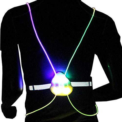 Evild LED Vest High Visibility Safety Vest Reflective Safety Gear Warning Light Illuminated Vest Running Gear for Adults(White)