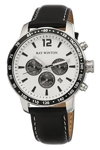 Ray Winton uomo WI0112cronografo White Dial Tachymeter nero in vera pelle orologio