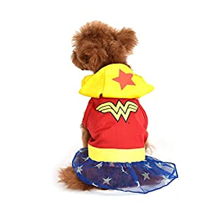 DC Comics Wonder Woman Dog Costume, X-Small (XS) | Hooded Superhero Costume for Dogs | Red, Yellow, Blue Wonder Woman Costume Dog Halloween Costumes for Small Dogs | See Sizing Chart for More Info