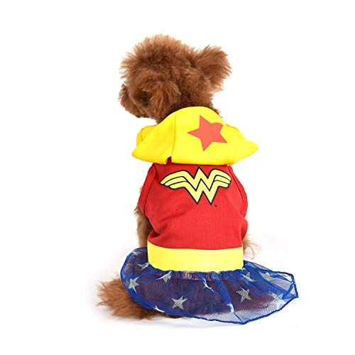DC Comics Wonder Woman Dog Costume, X-Small (XS)   Hooded Superhero Costume for Dogs   Red, Yellow, Blue Wonder Woman Costume Dog Halloween Costumes for Small Dogs   See Sizing Chart for More Info
