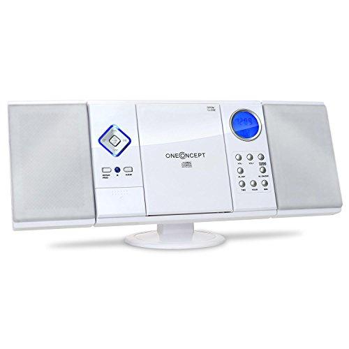 OneConcept V-12 Mini chaîne stéréo Ultra-Plate (Desing Piano élégant, Ports USB SD, Lecteur CD-MP3, écran LCD, Montage Mural Possible) - Blanc