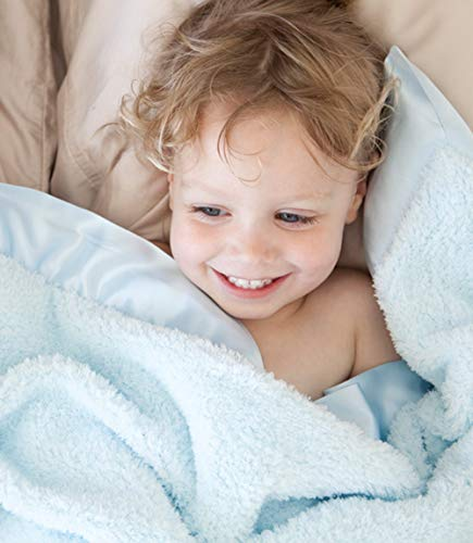 Little Giraffe Chenille Stroller Baby Blanket, Blue, 29