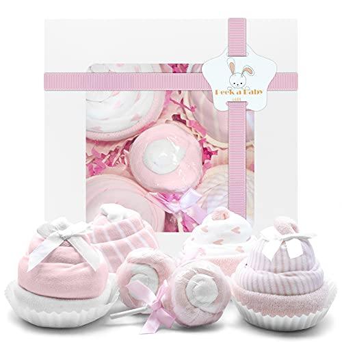 Pink Baby Girls Onesies Cupcake Gift Set – Baby Shower Gift Basket   Baby Girl Gift Basket   Newborn Bodysuits Onesies Gift Set