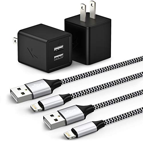 iPhone Charger, MFi Certified Lightning Cable Nylon Braided Fast Charging 2Pack 6FT Data Sync Transfer Cord with Port Plug Wall Charger Compatible with iPhone 11 Pro Max XS XR X 8 7 6S 7 Plus