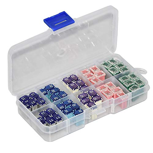 50 Pack Automotive MCASE Mini Box Shaped Cartridge Fuse Kit for Cars, Trucks, and SUVs(15a 20a 25a 30a 40a Each 10 Pcs)