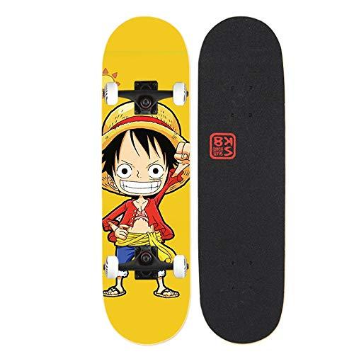Xlyasky Anime One Piece // Monkey D. Luffy Skateboard Principiantes Cuatro Ruedas Doble Tilt Maple Tablón de Arce Doble Adecuado Monopatín de Madera con rodamientos de aleación de PVC y Ruedas