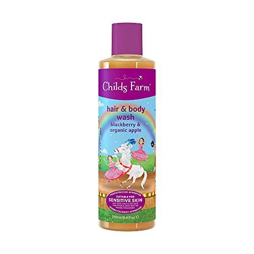 Childs Farm Gel de cabello y cuerpo para lavado de pelo, extracto de mora y manzana orgánica